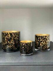 Vase The World Celtic Cheetah Gold - waxinelichtjes - theelichtjes - panter - luipaard - mondgeblazen - artic - goud - 15 cm bij 15 cm - vaas