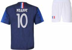 Kylian Mbappé - Frankrijk Thuis Tenue - voetbaltenue - Voetbalshirt + Broek Set - Blauw - Maat: 128