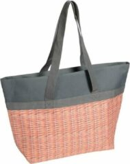 Merkloos / Sans marque Koeltas/strandtas grijs met gevlochten mand print 15 liter - Koeltassen shoppers voor onderweg/op het strand