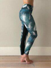 Blauwe Ultimate Fit - Sportlegging Tropical Leave print - S