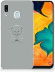 Grijze Samsung Galaxy A30 | A20 Uniek TPU Hoesje Baby Olifant