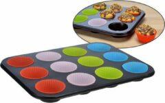 Zwarte Haushalt International Muffinbakvorm - met siliconen vormpjes - voor 12 muffins