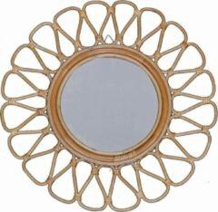 Bruine Perfecthomeshop Rotan spiegel 55 cm – Uniek Vintage Design – Duurzaam Geproduceerd