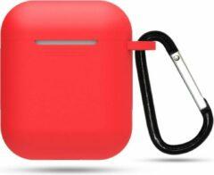 Go Go Gadget Siliconen case | geschikt voor airpods | karabijnhaak | rood