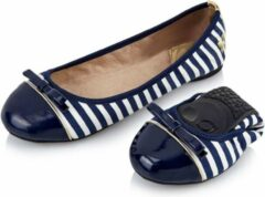 Marineblauwe Butterfly Twists Butterfly Twist Cara Stripe Opvouwbare Ballerina's Navy Wit Maat 37