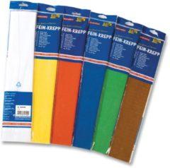 Blauwe Folia crǦpepapier pak van 10 stuks in geassorteerde kleuren: wit geel licht oranje lichtblauw blau...