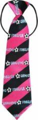 Fako Fashion® - Kinderstropdas - Print - Elastiek - Zwart/Fuchsia Voetbal