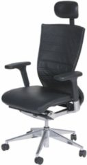 Zwarte Schaffenburg Bureaustoel - 105 verchr. ond. zitting en rug leer zw/zw, hfdst.