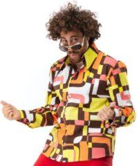 Groene Original Replicas Hippie Kostuum | Jaren 70 Hippie Soul Disco 60s Dolle Lijnen Shirt Man | XL | Carnaval kostuum | Verkleedkleding