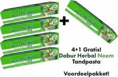 Dabur Herbal Tandpasta - Neem Tandpasta - 5 x 155Gram - Dabur Kruidentandpasta Neem - 4+1 Gratis - Voordeelpakket