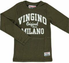 Vingino! Jongens Shirt Lange Mouw - Maat 104 - Olijfgroen - Katoen
