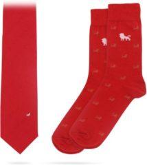 Rode Necessarius Red Lion Set - Matchende zijde stropdas & sokken