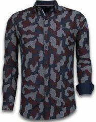 Tony Backer Italiaanse Overhemden - Slim Fit Overhemd - Blouse Dotted Camouflage Pattern - Zwart Casual overhemden heren Heren Overhemd Maat L