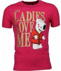 Roze T-shirt Korte Mouw Mascherano T-shirt - The Ladies Love Me Print