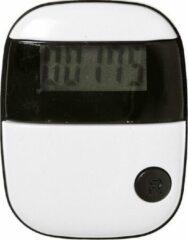 Merkloos / Sans marque Voordeelset van 2x stuks stappentellers met riemclip wit/zwart 5 cm - Pedometer - Bewegingstellers met LCD-scherm