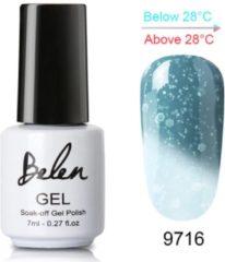 Belen Thermo Gel Polish - Glitter - Kristal - Thermo Gellak - Temperatuurgevoelige nagellak - Thermische nagellak - Temperatuur veranderende - Kleur veranderende #9716 ( Blauw - Lichtblauw ) (Oceaan) ( Glitter) - UV & LED