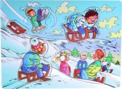 Tom Vormenpuzzel Winter Junior 30 X 9 Cm Hout Blauw 5 Stukjes