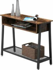 Bruine VASAGLE console tafel in industrieel ontwerp   Vintage tafel   Dressoir   Eenvoudig gemonteerd   Leuk in entree, en woonkamer   Vintage houtlook