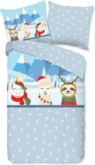 Rode Warme Kinder Flanel Eenpersoons Dekbedovertrek Snow Animals | 140x200/220 | Hoogwaardig En Zacht | Ideaal Tegen De Kou