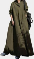Groene ZANZEA Solid Color Lapel Collar Casual Dress