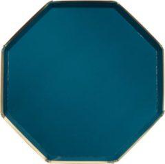 Blauwe Kartonnen borden - Teal - Meri Meri - 8 stuks - 20cm