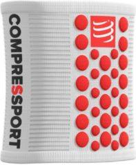 Witte Compressport Sweatbands 3D Dots White/Red ZweetbandDefault
