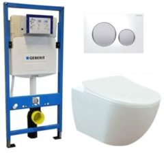 Douche Concurrent Geberit UP 320 Toiletset - Inbouw WC Hangtoilet Wandcloset - Creavit Mat Wit Rimfree Geberit Sigma-20 Wit Mat Chroom