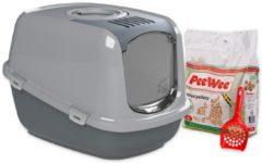 Antraciet-grijze PeeWee EcoDome Startpakket - Kattenbak XXL - Grijs - 66.5 x 48.5 x 46.5 cm