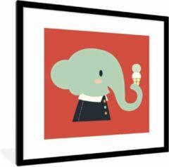 PosterMonkey Foto in lijst - Een cartoon illustratie van een baby olifant op een rode achtergrond fotolijst zwart met witte passe-partout 40x40 cm - Poster in lijst (Wanddecoratie woonkamer / slaapkamer)