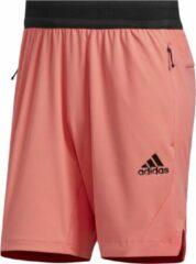 Koraalrode Adidas Heat.Rdy trainingsshorts met ritszakken
