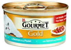 GOURMET Gold Fijne Hapjes - Zalm en Kip - Kattenvoer - Volwassen kat - 24 x 85g