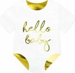 Gouden Partydeco Poland Servetten Rompertje Hello Baby