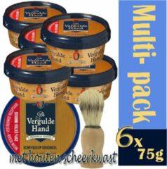 6x-multi-pack -Vergulde hand scheerzeep met een houten kwast
