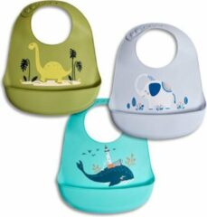 Turquoise Telano 3 stuks Siliconen Slabbetje met Opvangbakje - Baby en Peuter slabber - Slabber Verstelbaar en Waterdicht - Voordeelset Dino Olifant Walvis - Verjaardag - Cadeau