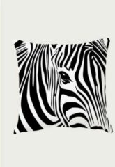 PeXtras Kussenhoes - zachte stof - Zebra - Dieren print - Zwart Wit