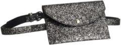 Zilveren Merkloos / Sans marque Glitter heuptasje antraciet 18 cm - heuptasje glitter