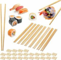 Naturelkleurige Relaxdays 250 paar bamboe eetstokjes - chopsticks - 24 cm lang - eet stokjes – bruin