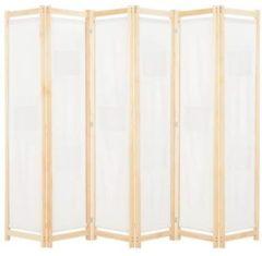 Creme witte VidaXL Kamerverdeler met 6 panelen 240x170x4 cm stof crme