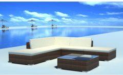Bruine Vidaxl loungeset voor buiten poly rattan bruin 15-delig