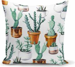 Fuchsia Zijou Decoratieve sierkussen cactus in bloempot - Kussens woonkamer - Binnen of Buiten decoratie sierkussens -45x45cm afmeting
