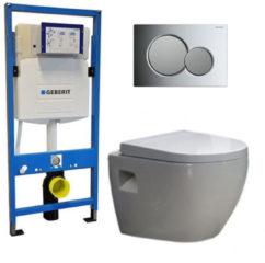 Douche Concurrent Geberit UP 320 Toiletset - Inbouw WC Hangtoilet Wandcloset - Daley Sigma-01 Chroom Mat Chroom