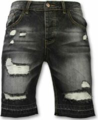 Enos Korte Broeken Heren - Slim Fit Ripped Shorts - Zwart Heren Short W28