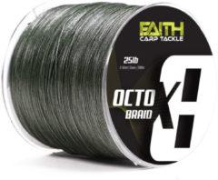 Faith OctoX8 Braided Line - groen - Gevlochten Lijn - 25lb - 0.16mm - 1000m - Groen