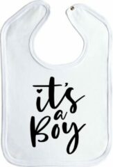 Merkloos / Sans marque Slabbetjes - slabber - baby - boy - It's a boy - drukknoop - stuks 1 - wit