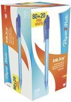 Pack van 80 balpennen Papermate Inkjoy 100 inklikbaar blauw + gratis