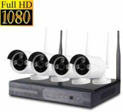 HD NVR Kit Beveiligingscamera Plug en Play camerasysteem 1,3 MP - 4 camera's WIT