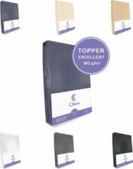 Antraciet-grijze Cillows Excellent Jersey Hoeslaken voor Topper - 90x220 cm - (tot 5/12 cm hoogte) – Antraciet