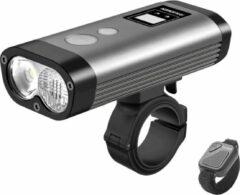 Grijze Ravemen PR1600 USB oplaadbaar DuaLens koplamp HiLo beam met display, draadloze afstandsbediening en powerbankfunctie – 1600Lu