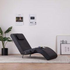 VidaXL Massage chaise longue met kussen kunstleer zwart