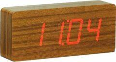 Gingko Wekker - Alarmklok Slab Click Clock Teak- rode LED